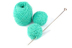 Blue threads for knitting and a spoke Stock Photos