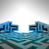 Blue three dimensional maze structure template Stock Photo