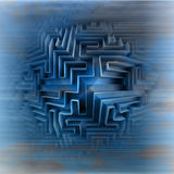 Blue three dimensional network maze motion blur Stock Images