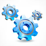 Blue three gears on white Royalty Free Stock Photography