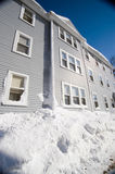 Blue three story house in winter Stock Photo