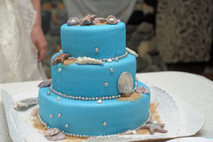 Blue three-tiered cake Stock Images