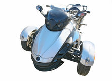 Blue three wheel motorcycle Stock Photos