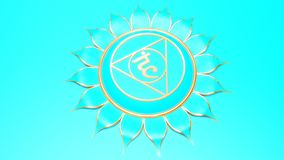 Blue Throat chakra Vishuddha symbol concept of Hinduism; Buddhism; Ayurveda. Communication. 3d vector illustration