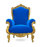 Blue Throne Chair Isolated. On white background. 3D render vector illustration