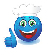 Blue thumb up emoticon Stock Photography