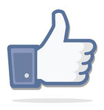Blue thumb up. Facebook, editorial use only royalty free illustration