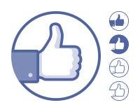 Blue Thumb Up flat icon Stock Photo