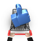 Blue thumb up in shopping cart with hand holding Stock Image