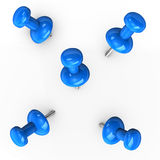 Blue Thumbtacks Stock Photography