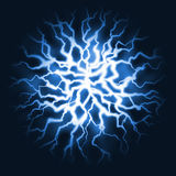 Blue thunder energy burst Royalty Free Stock Image
