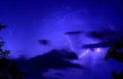 Blue thunderstorm background. Stock Photos