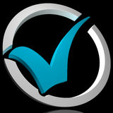 Blue Tick Circled Shows Quality And Excellence Royalty Free Stock Photography