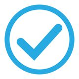 Blue tick icon vector symbol, checkmark isolated on white background, checked icon or correct choice sign, check mark or checkbox. Pictogram. Vector stock illustration