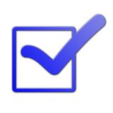 Blue tick symbol. A blue tick symbol in a list of check boxes on a white background. Representing success, choice and decision making Stock Images
