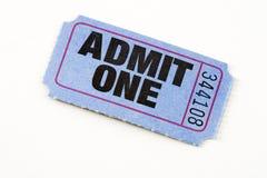 Blue ticket stock photo