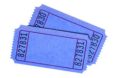 Blank blue ticket pair isolated white background Royalty Free Stock Images
