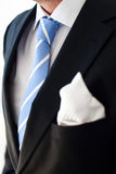Blue tie. Groom wearing dark suit and a blue tie Stock Images