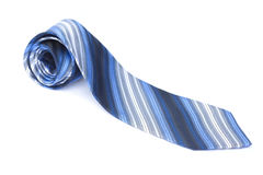 Blue Tie. Blue striped tie isolated over a white background Stock Photography