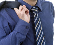 Blue tie. Detail of a business man with blue tie Stock Photography