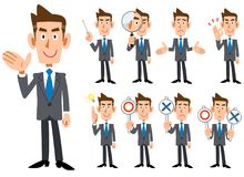 Businessman`s gestures and expression _ Nine types of whole body. Blue tie and gray suit wearing businessman`s gestures and expression _ Nine types of whole body vector illustration