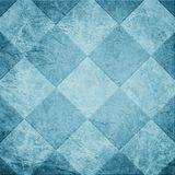 Blue tile background illustration or abstract diamond or block shape pattern on old vintage paper texture background