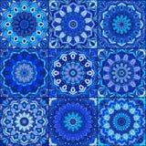 Blue Tile Pattern Boho Background Stock Image