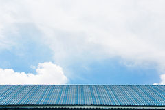 Blue tile roof on the sky. Royalty Free Stock Image