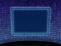 Blue tile room with tablet Royalty Free Stock Images