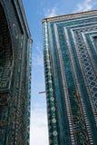 Blue tiled facades of Shahi-Zinda Stock Photo