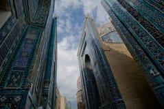 Blue tiled facades of Shahi-Zinda Royalty Free Stock Images