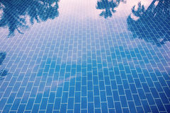 Blue tiled floor of a pool under clear water Royalty Free Stock Image