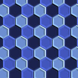 Blue Tiles. An abstract illustration of hexagonal blue tile royalty free illustration