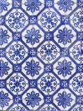 Blue tiles background in arabic style from Portugal. Blue tiles from portugal in arabic style for background closeup on the wall abstract Royalty Free Stock Photo