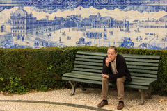 Blue tiles depicting the old town. Lisbon.Portugal Royalty Free Stock Images