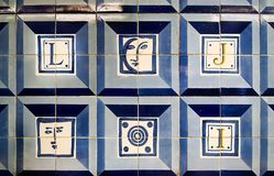 Blue tiles detail of Portuguese glazed. Vintage decorative elements. Moroccan motifs. Abstract colorful doodle pattern in mosaic style. Selective focus royalty free stock photos