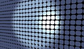 Blue tiles grid. Blue 3d tiles grid with spotligh on center Royalty Free Stock Images