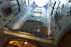 Blue tiles in interior of Casa Batllo Royalty Free Stock Image