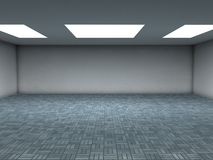 Blue tiles room. An emty room with white ceiling lights and reflective blue ceramic tiles. You can place your objects here. Computer render Stock Photos