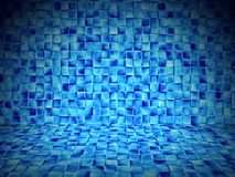 Blue tiles sauna empty interior Royalty Free Stock Images