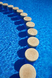 Blue tiles swimming pool water texture Royalty Free Stock Images