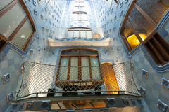 Blue tiles walls in interior of Casa Batllo Stock Photos