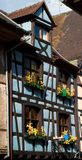 Blue timber frame house in Alsace Royalty Free Stock Photo