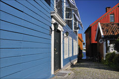 Blue timberhouses in Larvik, Norway Royalty Free Stock Photo