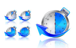 Blue timer clocks with arrows Royalty Free Stock Images