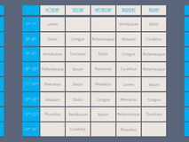 Blue timetable template flat style Stock Photo