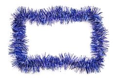 Blue tinsel border Royalty Free Stock Images