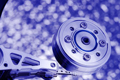Blue tint macro hard disk drive. Blue tint macro opened hard disk drive Royalty Free Stock Photos
