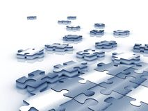 Blue tinted unfinished puzzle - 3d render Royalty Free Stock Photos
