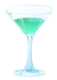 Blue tipple cocktail in glass goblet on stem. Alcohol strong drink Royalty Free Stock Image